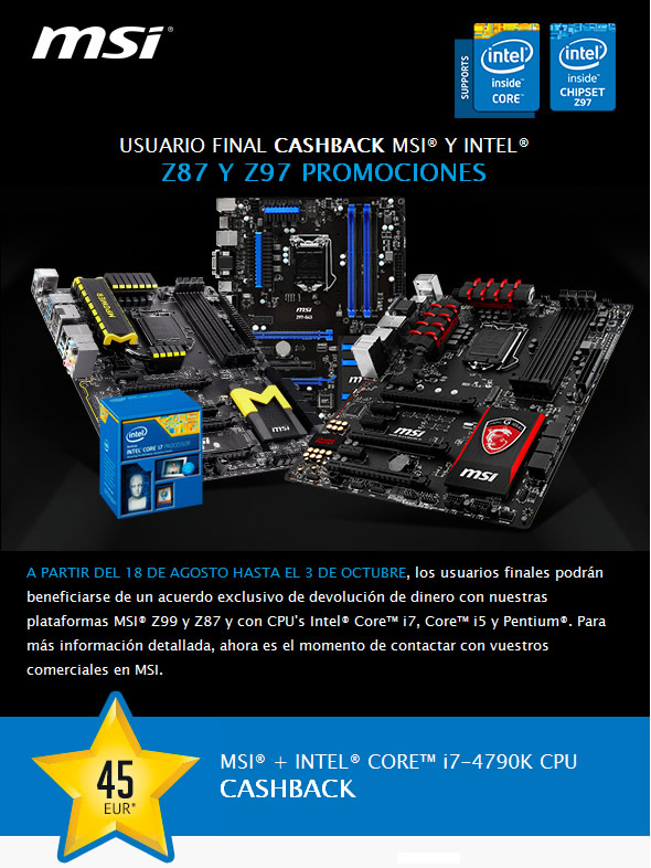 Placa Base msi Z87 y Z97 más Intel Core I7-4790k